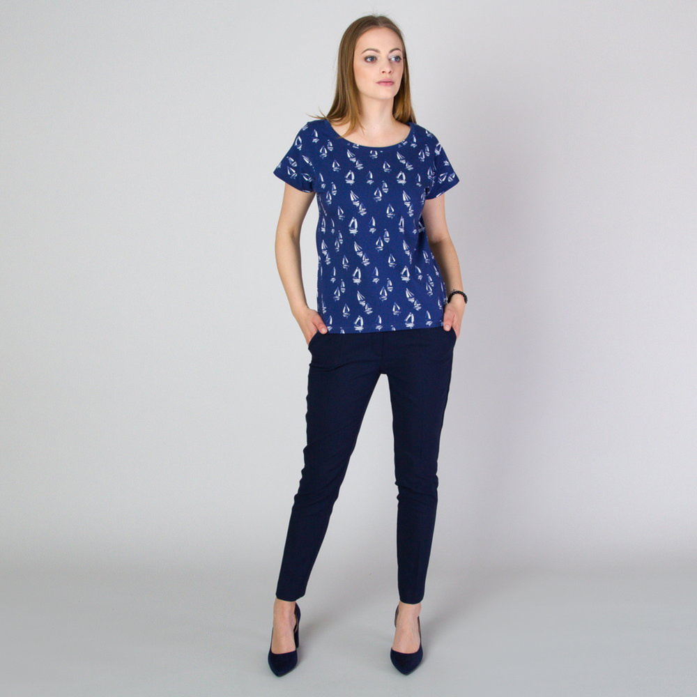 Women's t-shirt with white sailing boat print 11790