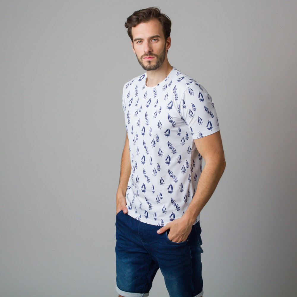 Men's t-shirt with sailing boat print 11806