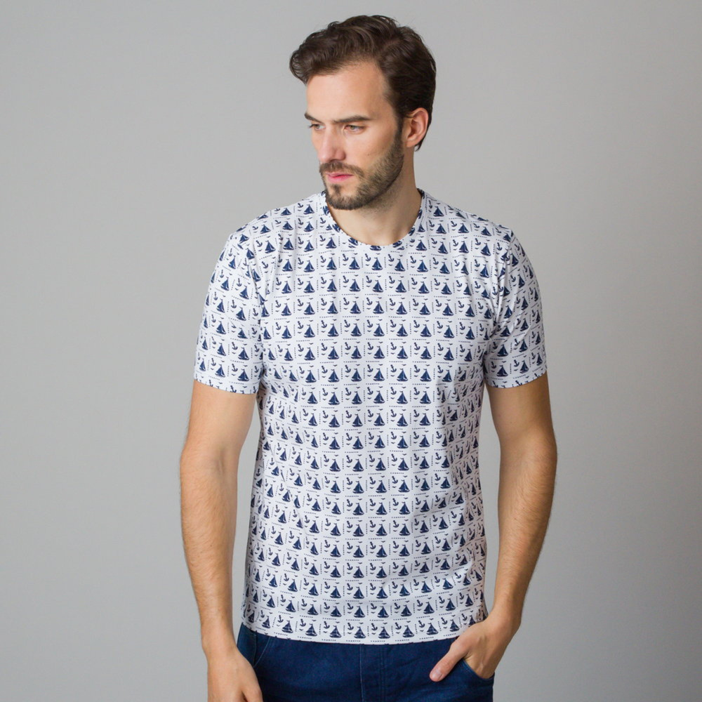 Men's t-shirt with sailing boats and anchors print 11808