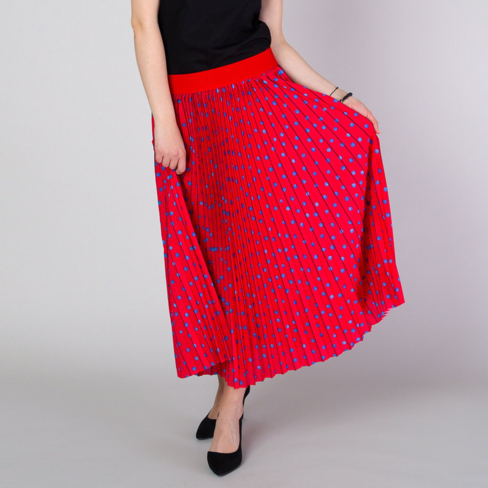 Pleated midi skirt in red with polka dot pattern 11815