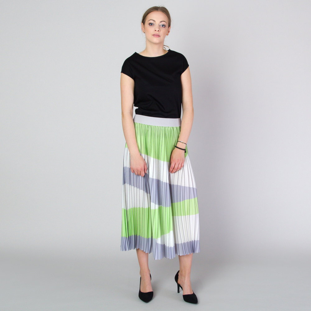 Pleated midi skirt with grey and green stripes 11818