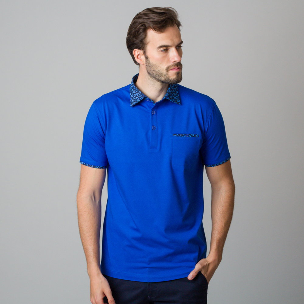Men's polo shirt in blue color with piping 11821