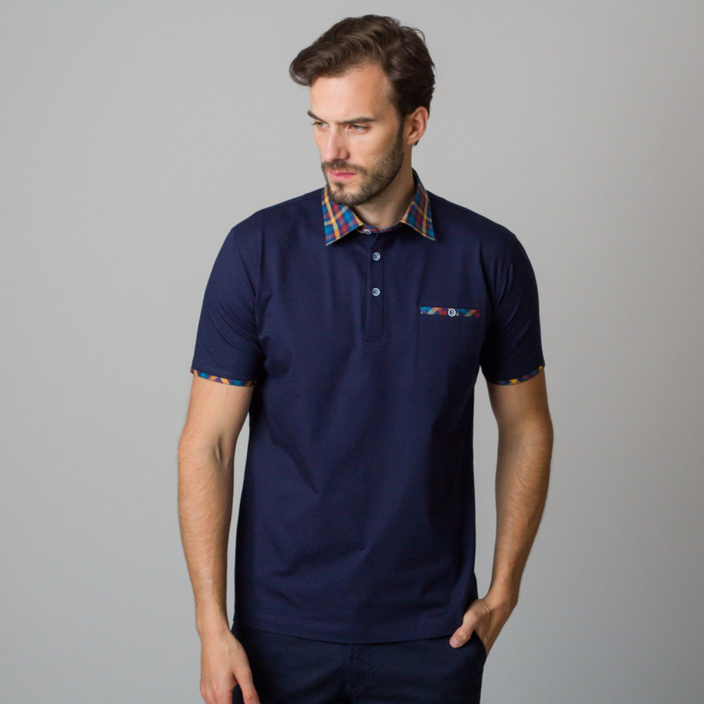 Men's polo shirt in dark blue color with piping 11822