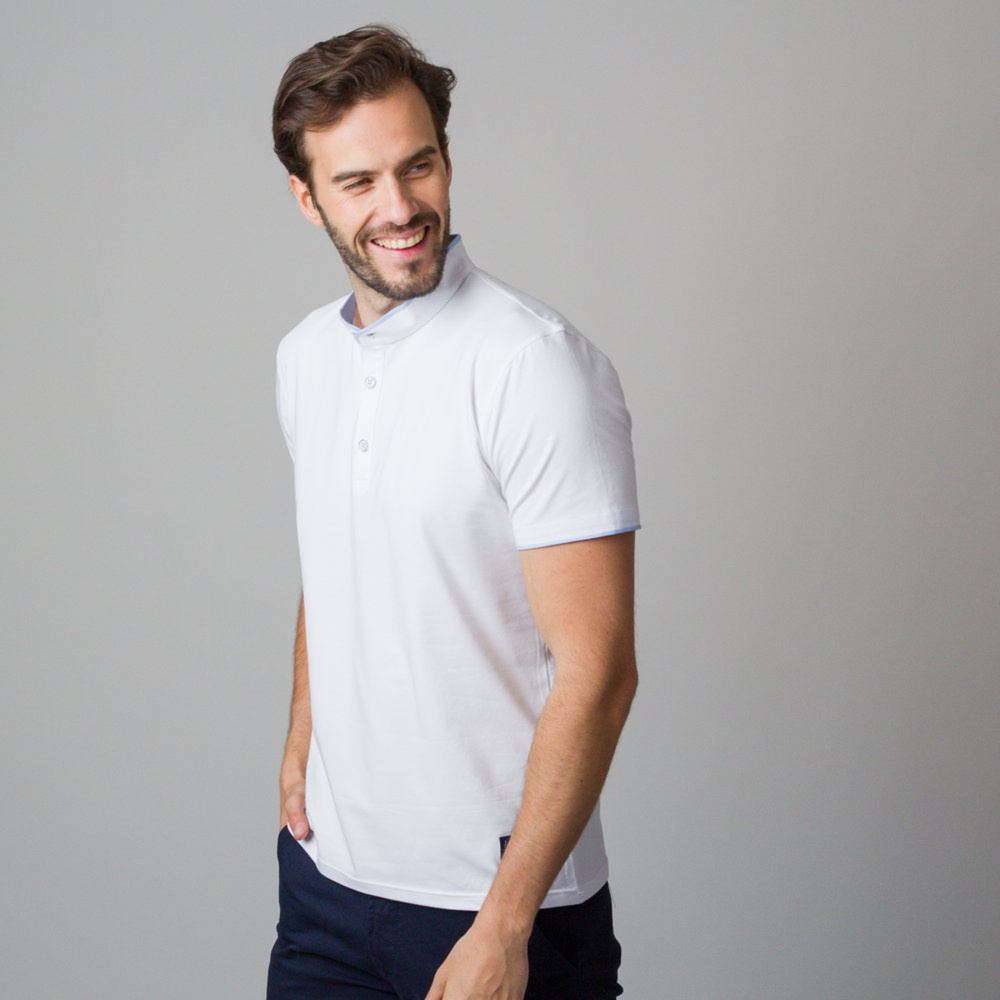 Men's polo shirt in white color with dark blue piping 11846