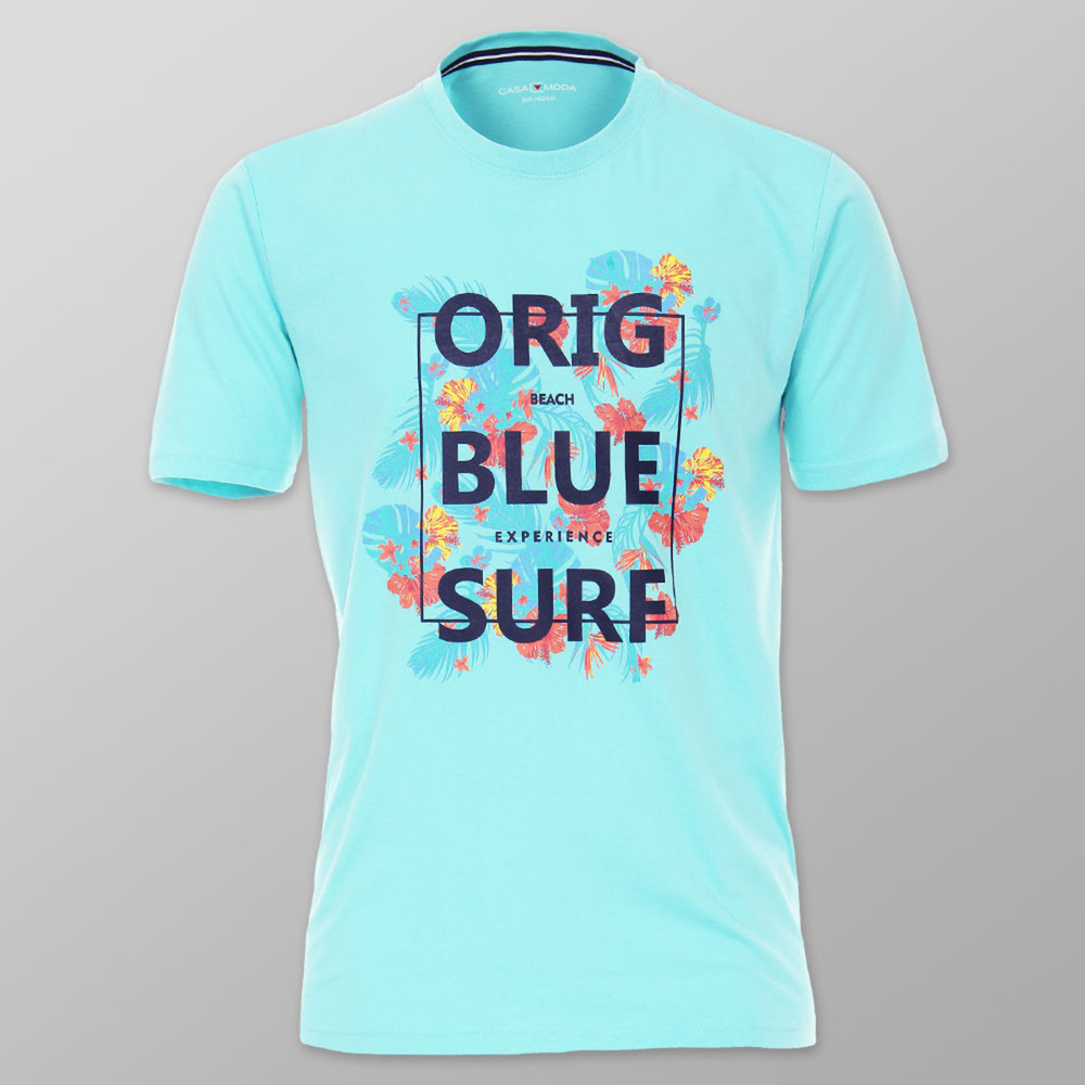 Modern men's t-shirt in light turquoise withinscription and colorful floral print. 11853