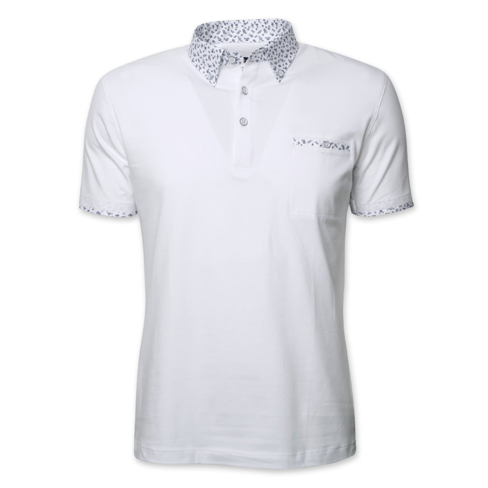 Men's polo shirt in white color with floral elements 11892