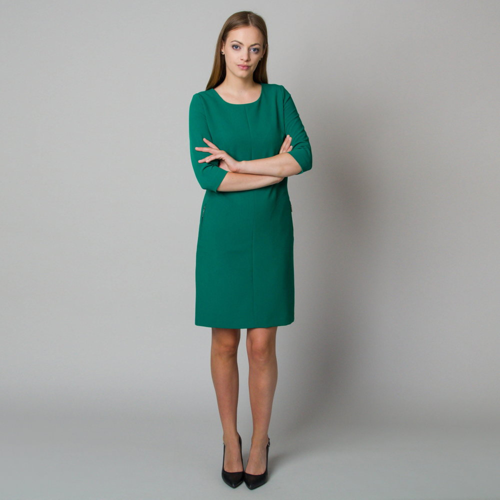 Midi dress in dark green color 11908