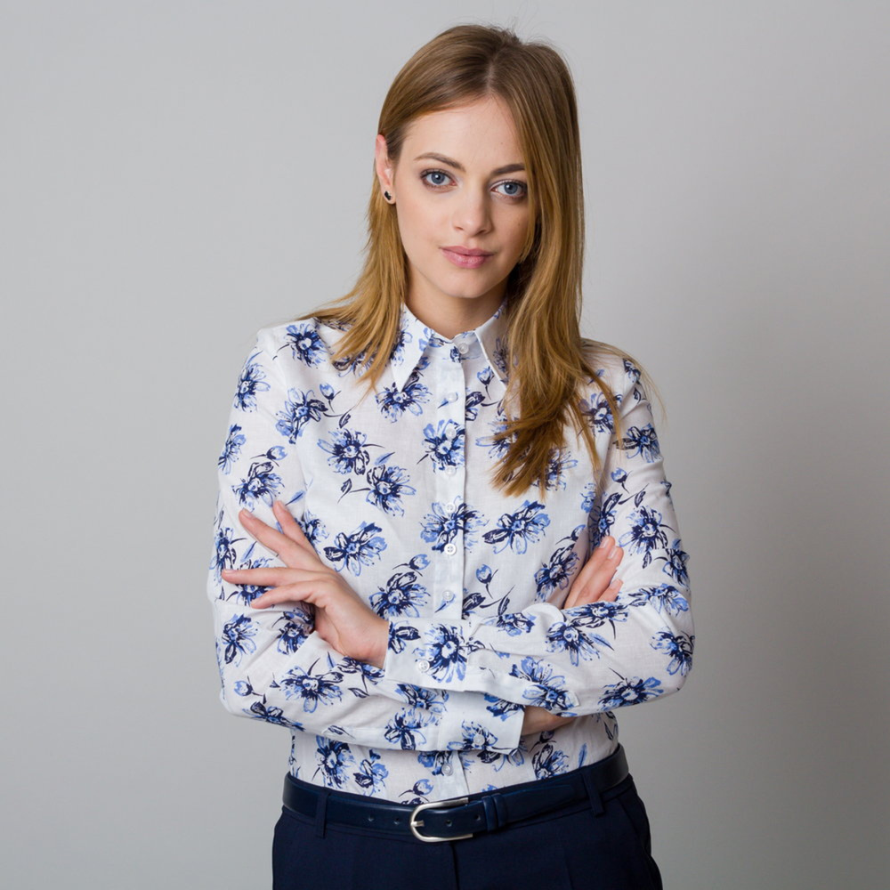 Women's shirt with dark blue flowers print 11920