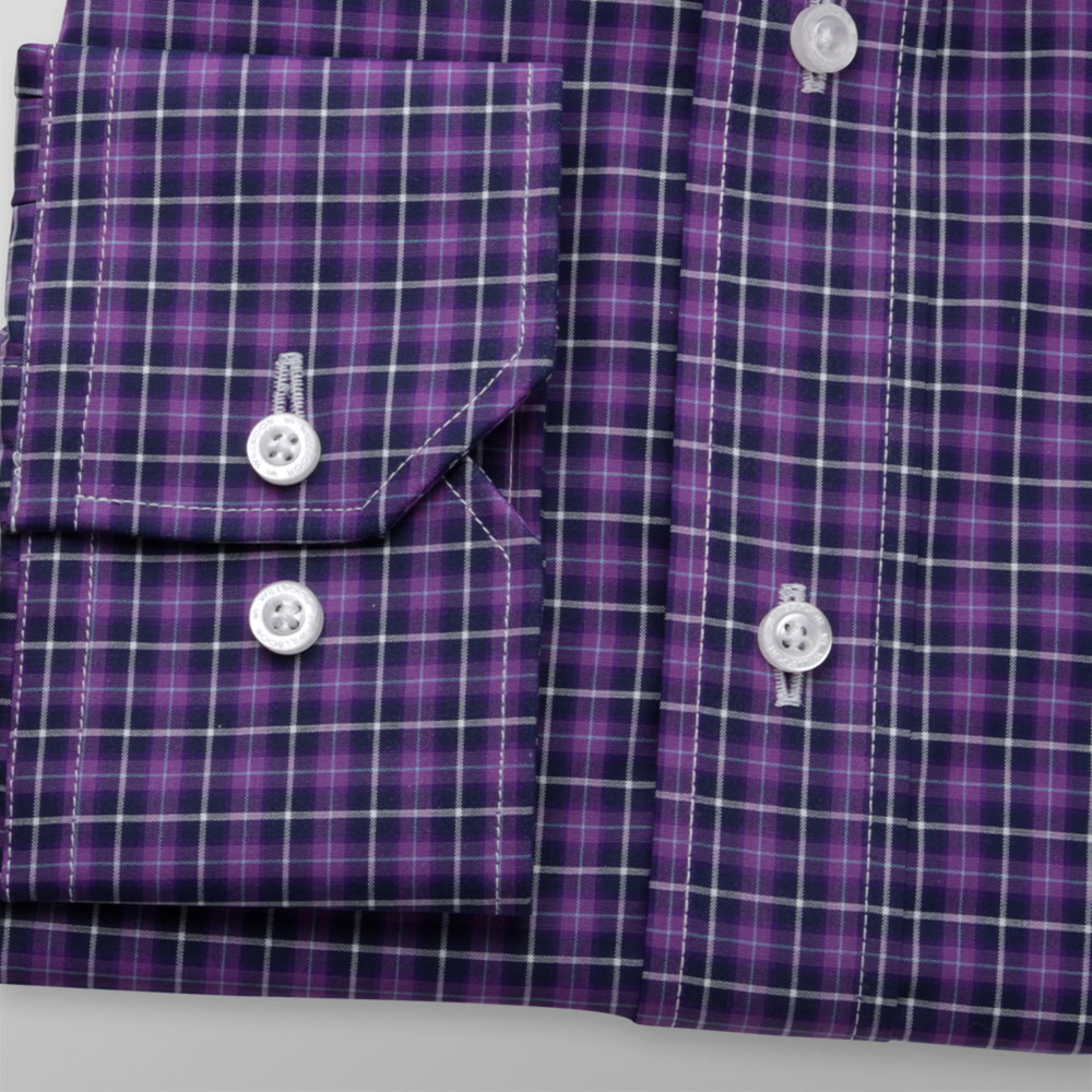 Men's purple shirt classic with checkered pattern 11957