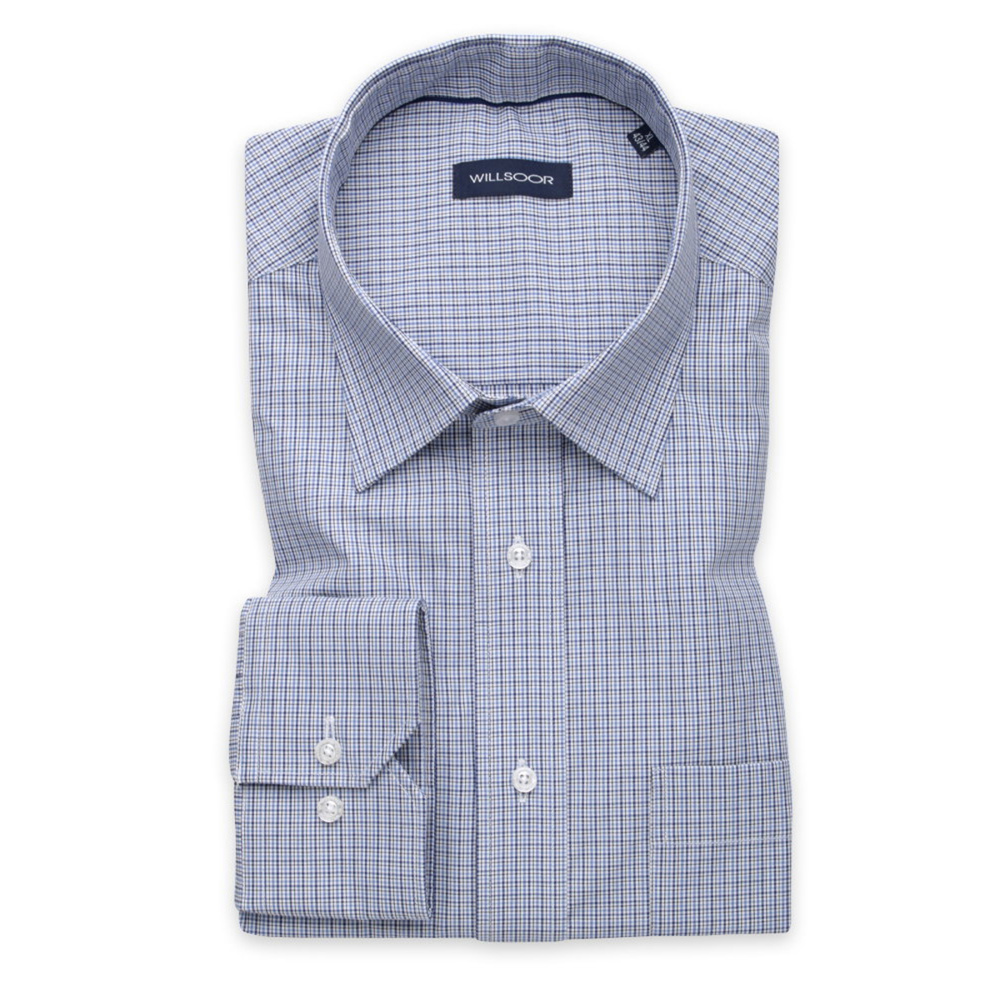 Men's blue shirt classic with checkered pattern 12004