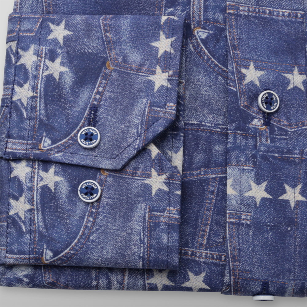 Men's shirt classic with denim pattern and print with stars 12006
