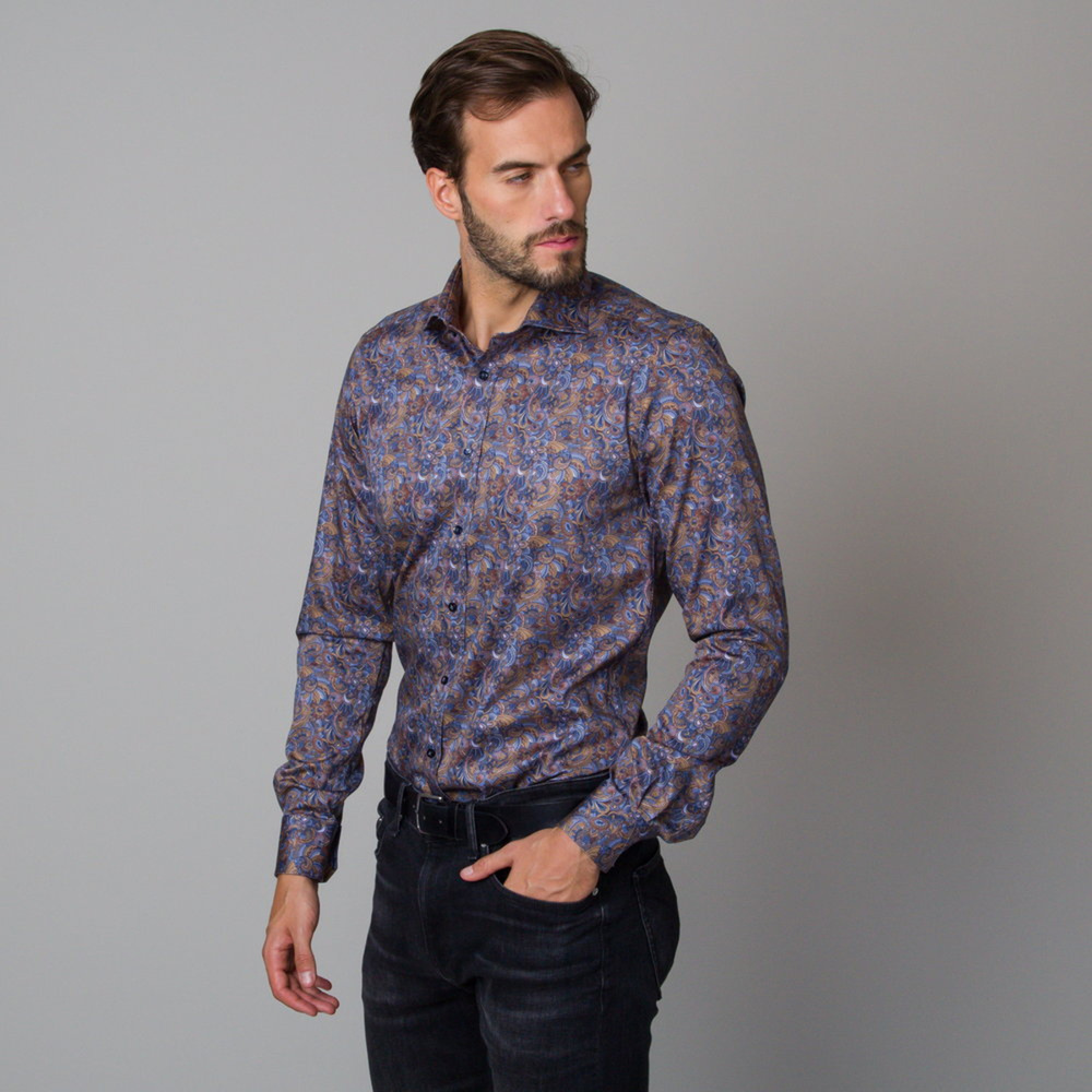 Men's Slim Fit shirt with an oriental pattern 12055