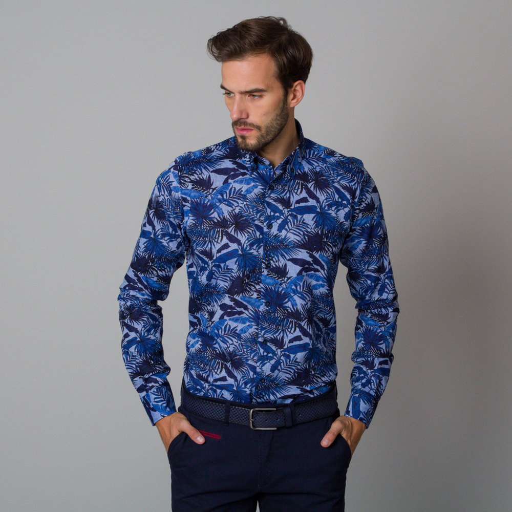 Men's Slim Fit shirt with blue plant pattern 12057