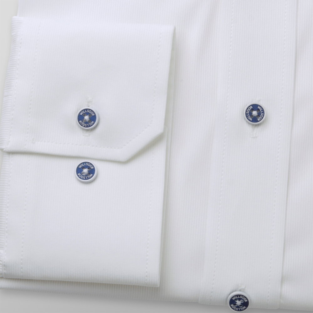Men's Slim Fit white shirt with fine striped pattern 12091