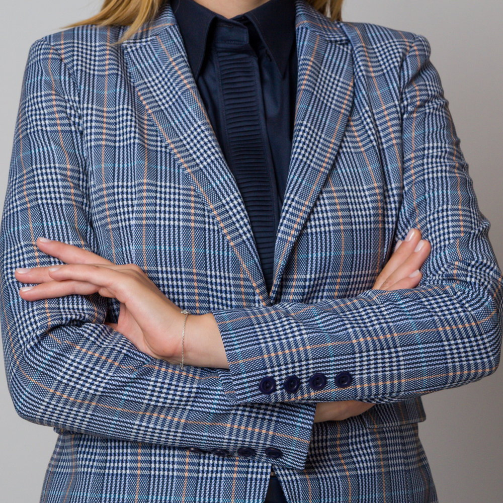 Women's suit jacket blue with yellow checkered pattern 12099