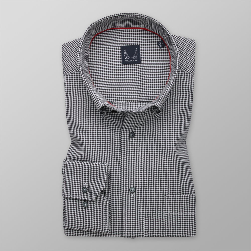 Men's classic shirt with delicate black pattern 12102