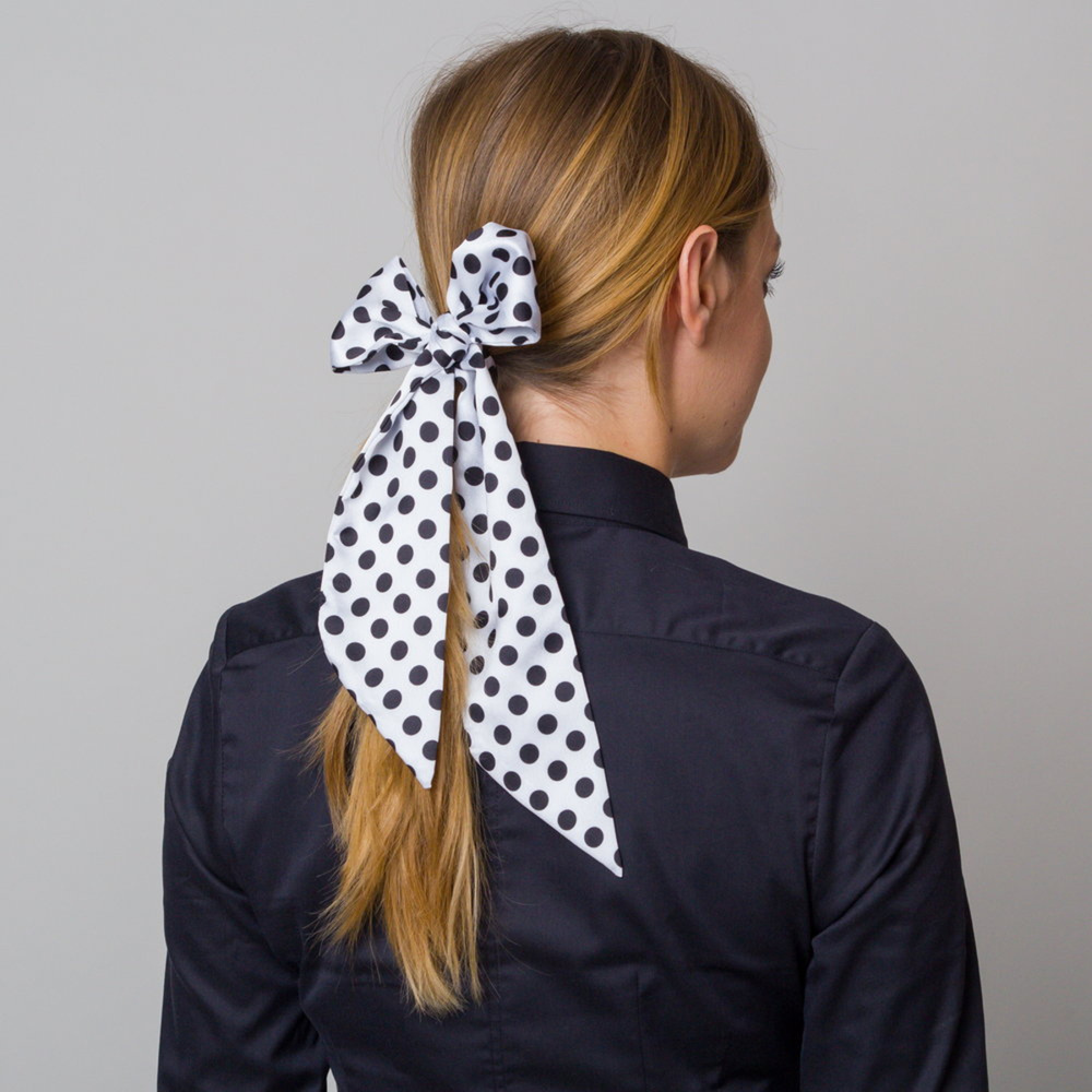 Silk scarf with black spotted pattern 12109