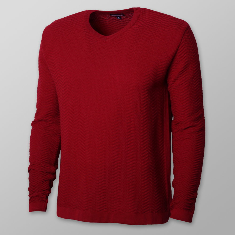 Men's red sweater with delicate pattern 12121