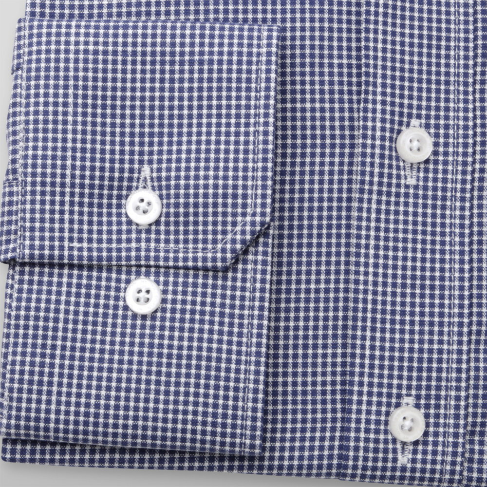 Men's classic dark blue shirt with checkered pattern 12145