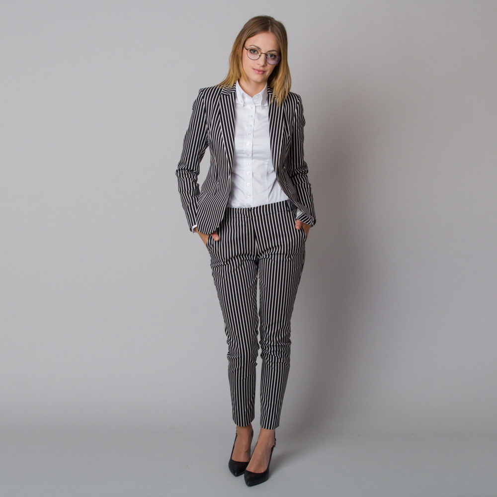 Women's dress pants with black and white striped pattern 12185