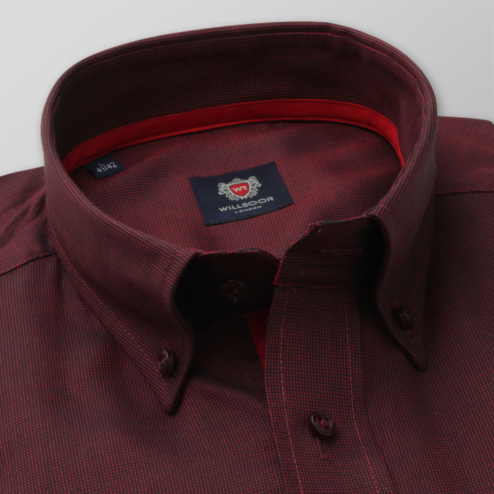 Men's classic shirt in claret with fine pattern 12418