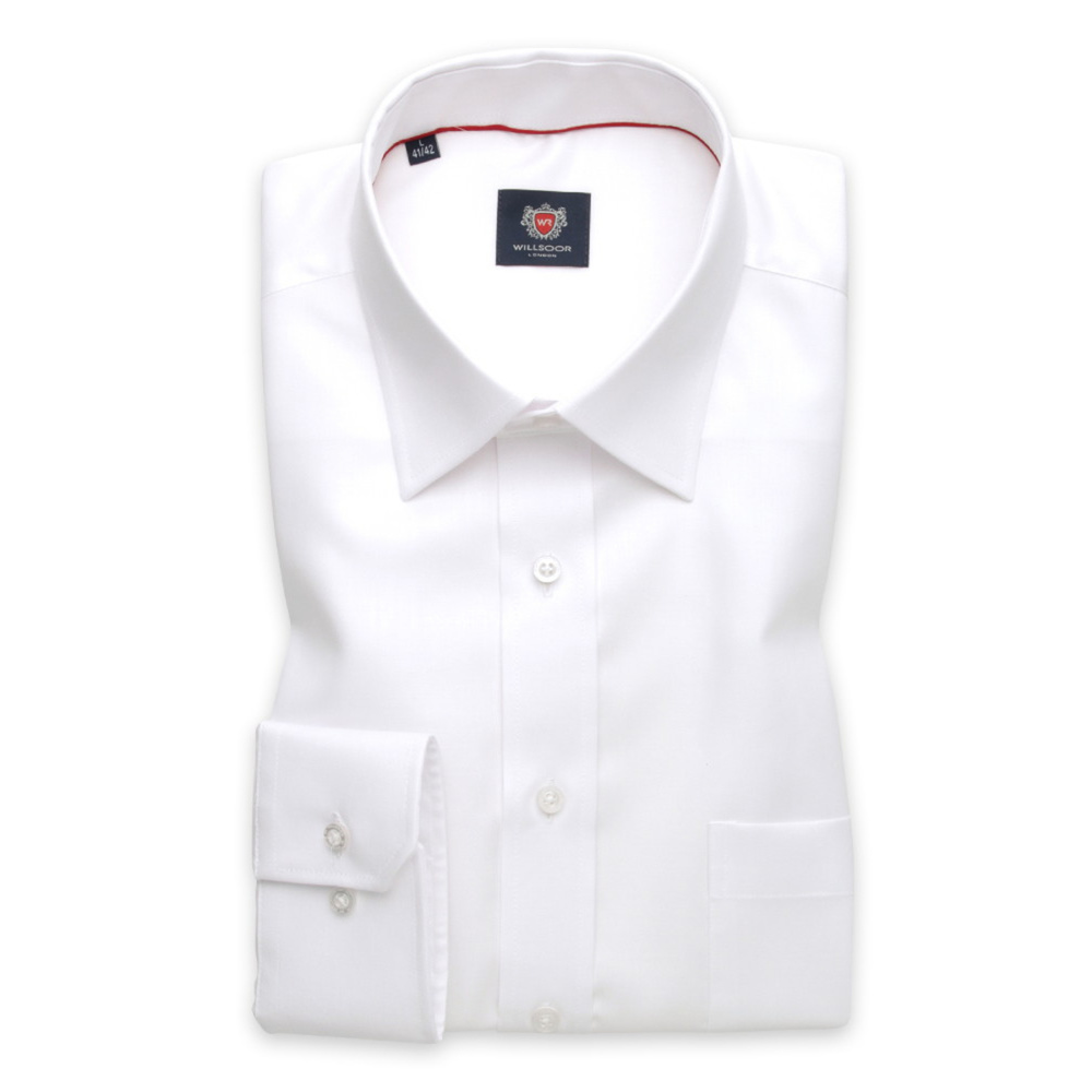 Men's shirt classic white with smooth pattern 12605