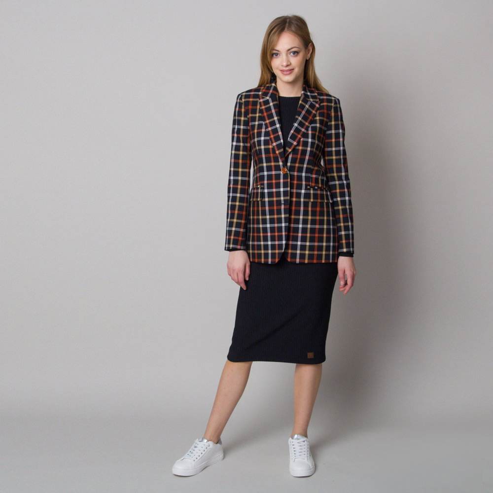 Women suit jacket with colored checkered pattern 12629
