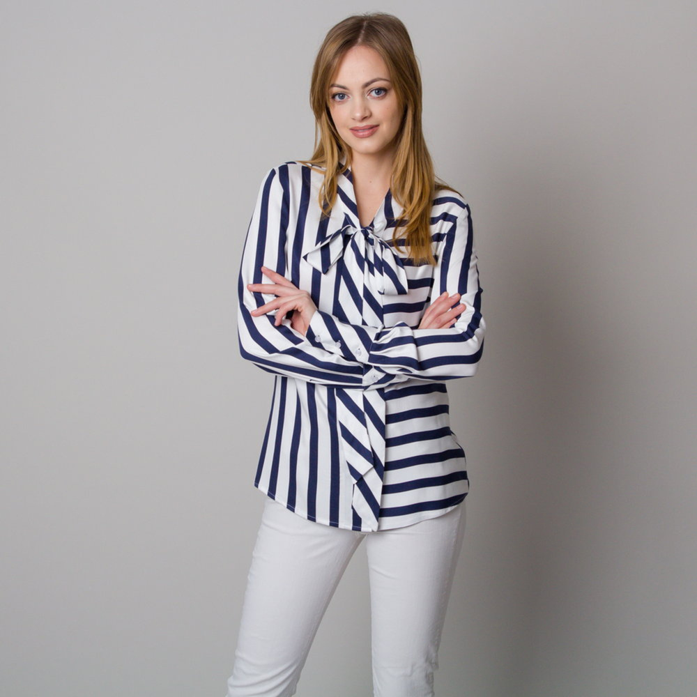 Women's shirt with long bows and a striped pattern 12668