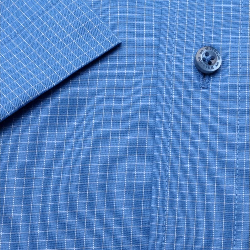 Men slim fit shirt with short sleeve (height 176/182) 1330 in blue color