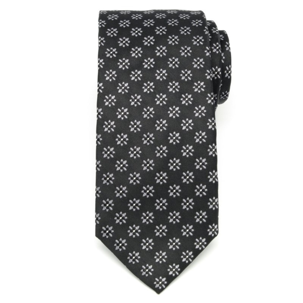 Men's silk tie with grey flowers pattern 2683