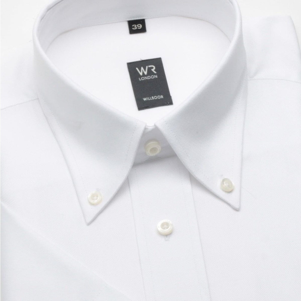 Men classic shirt with short sleeve (height 176-182) 268 in white color