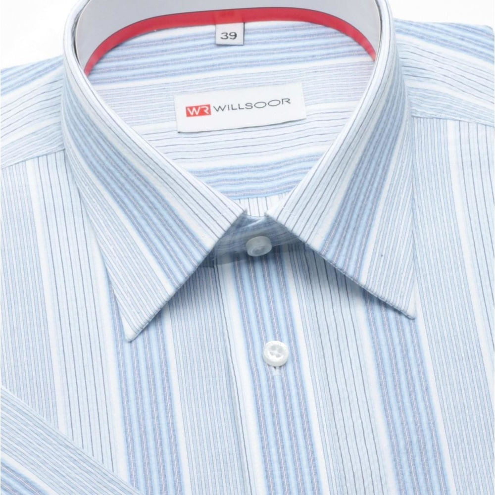 Men slim fit shirt (height 176/182) 300 with short sleeve a blue strips