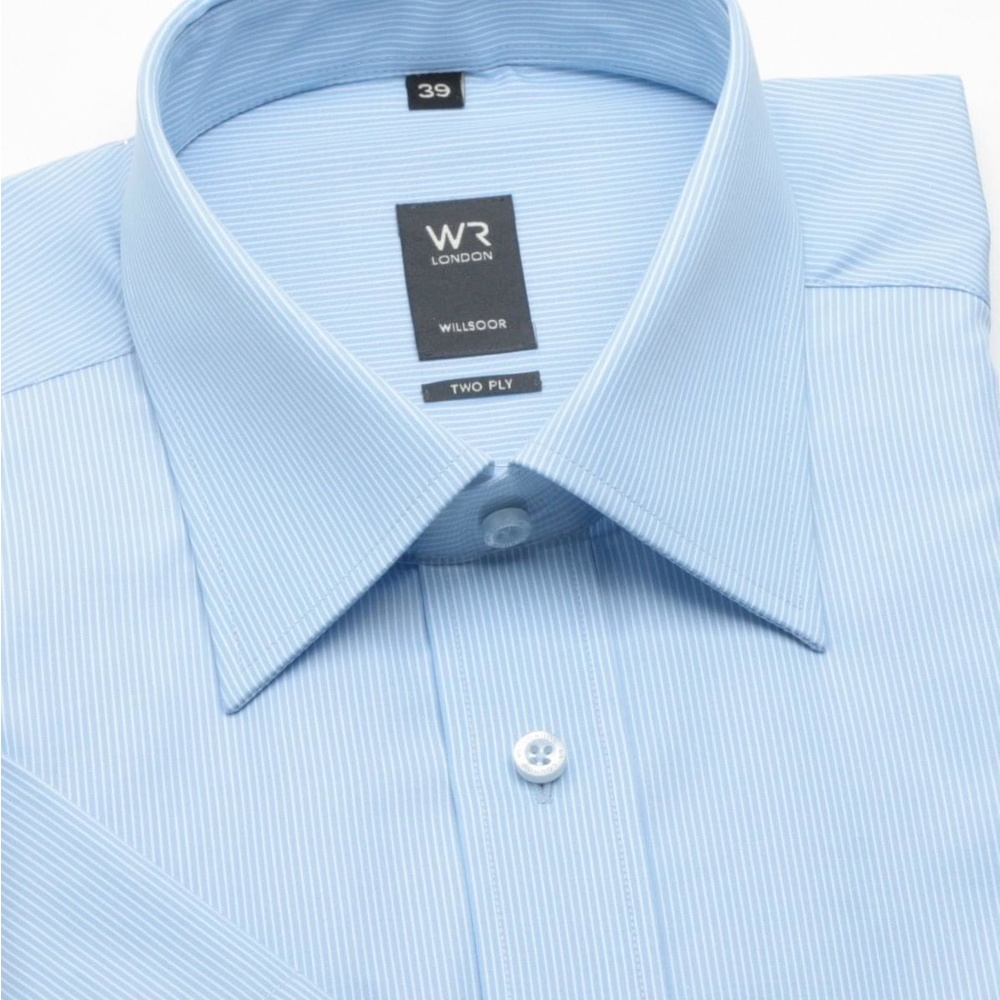 Men classic shirt with short sleeve (height 176-182) 308 in blue color