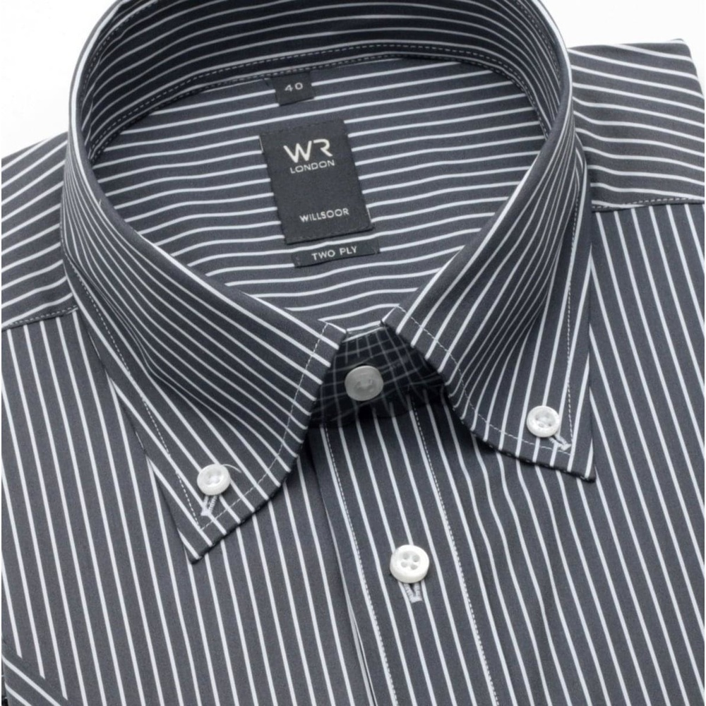 Men slim fit shirt with short sleeve (height 176-182) 316 in black color with strips
