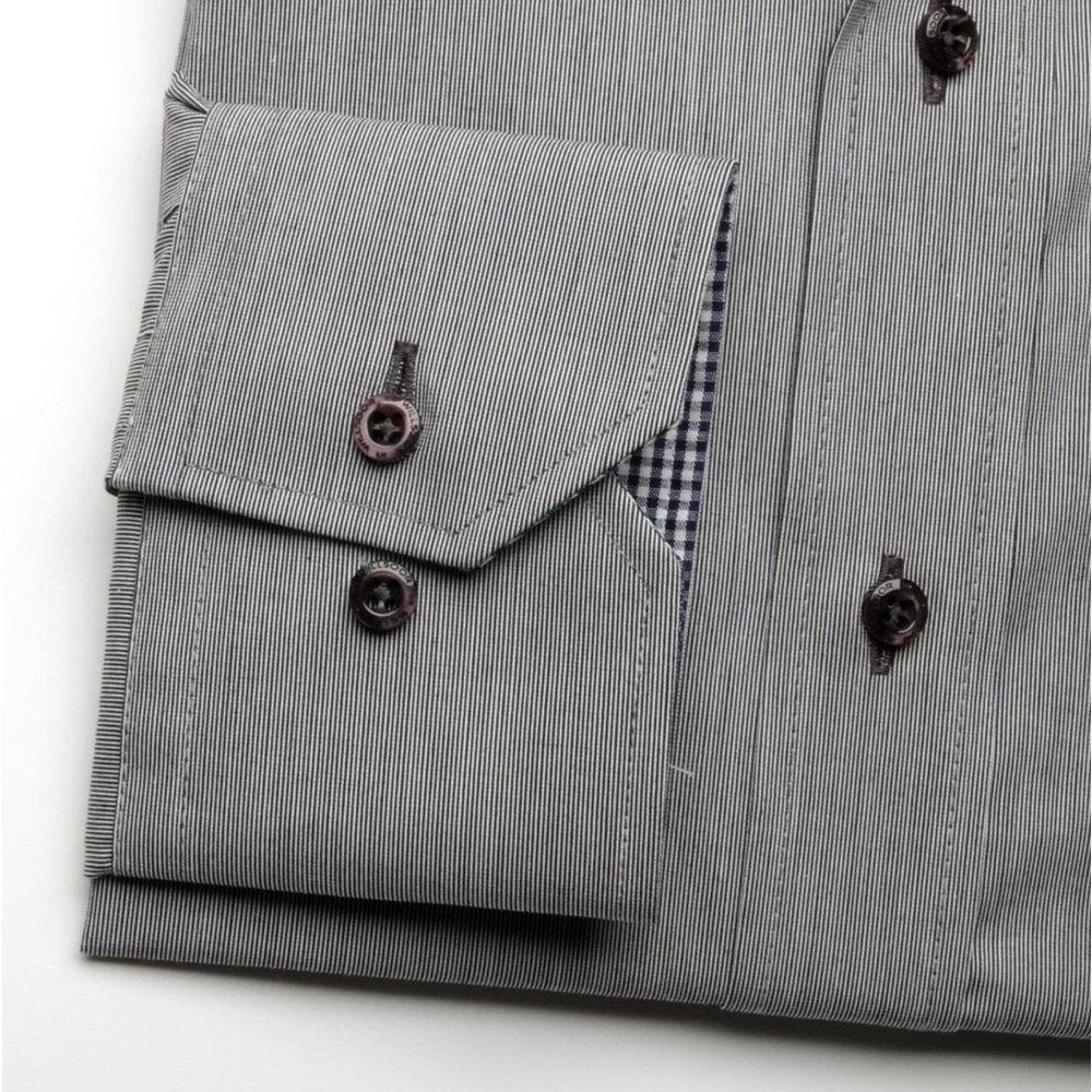 Men shirt WR Slim Fit in gray color with strip (height 164-170) 4551
