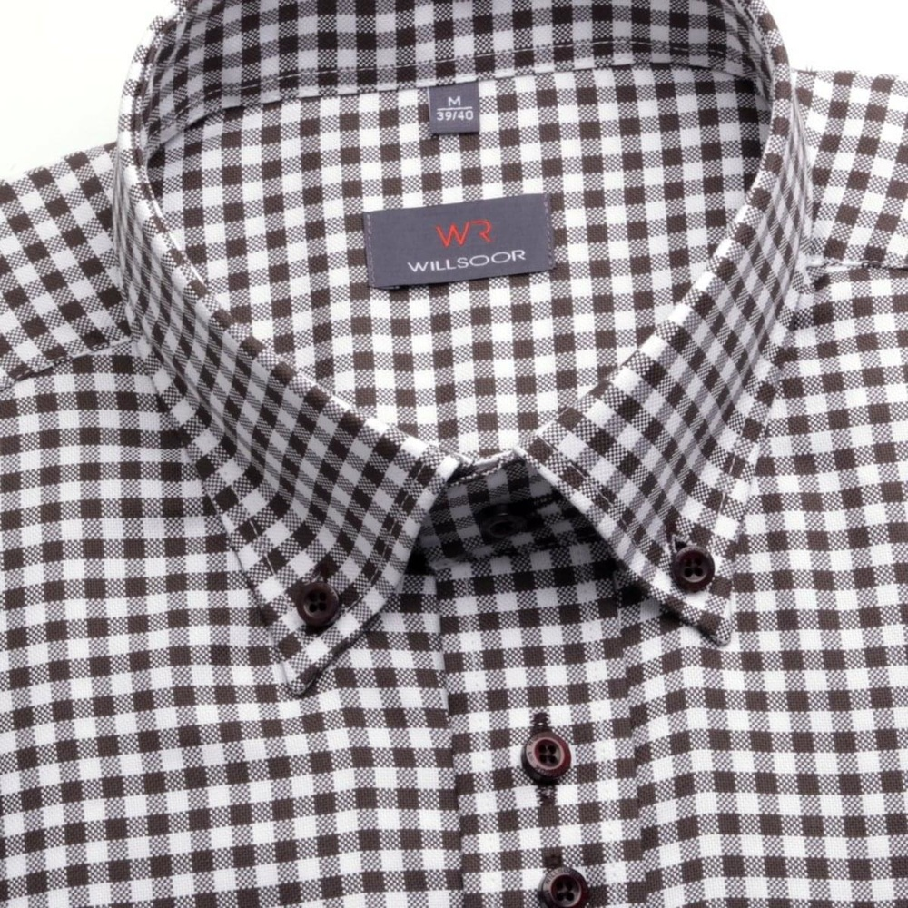 Men shirt WR Classic in white color with checked (height 164-170) 4645