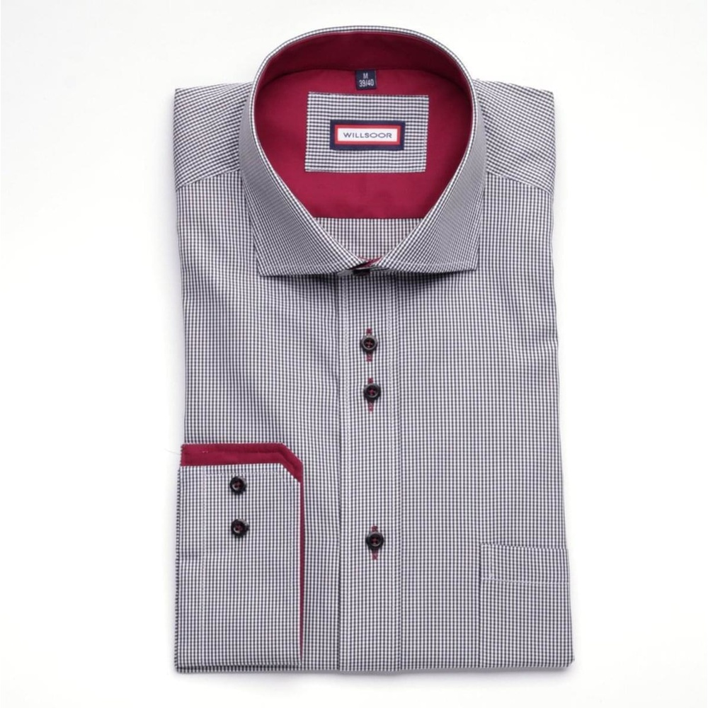 Men shirt WR Slim Fit in white color with checked pattern (height 176-182) 4656
