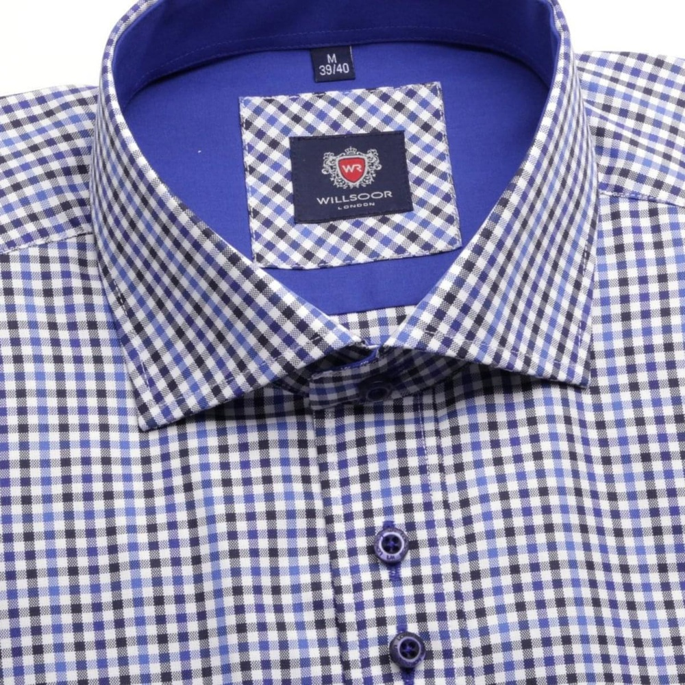 Men shirt WR London in blue color with checked (height 176-182) 4675