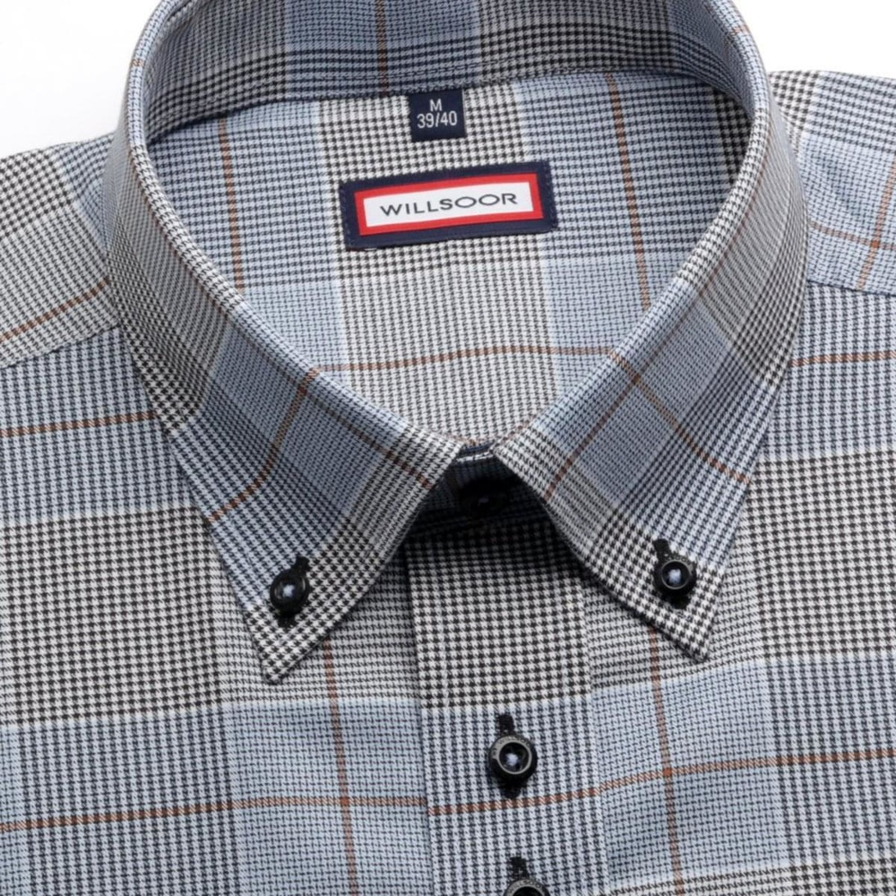 Men shirt WR Slim Fit in blue color with checked (height 188-194) 4708