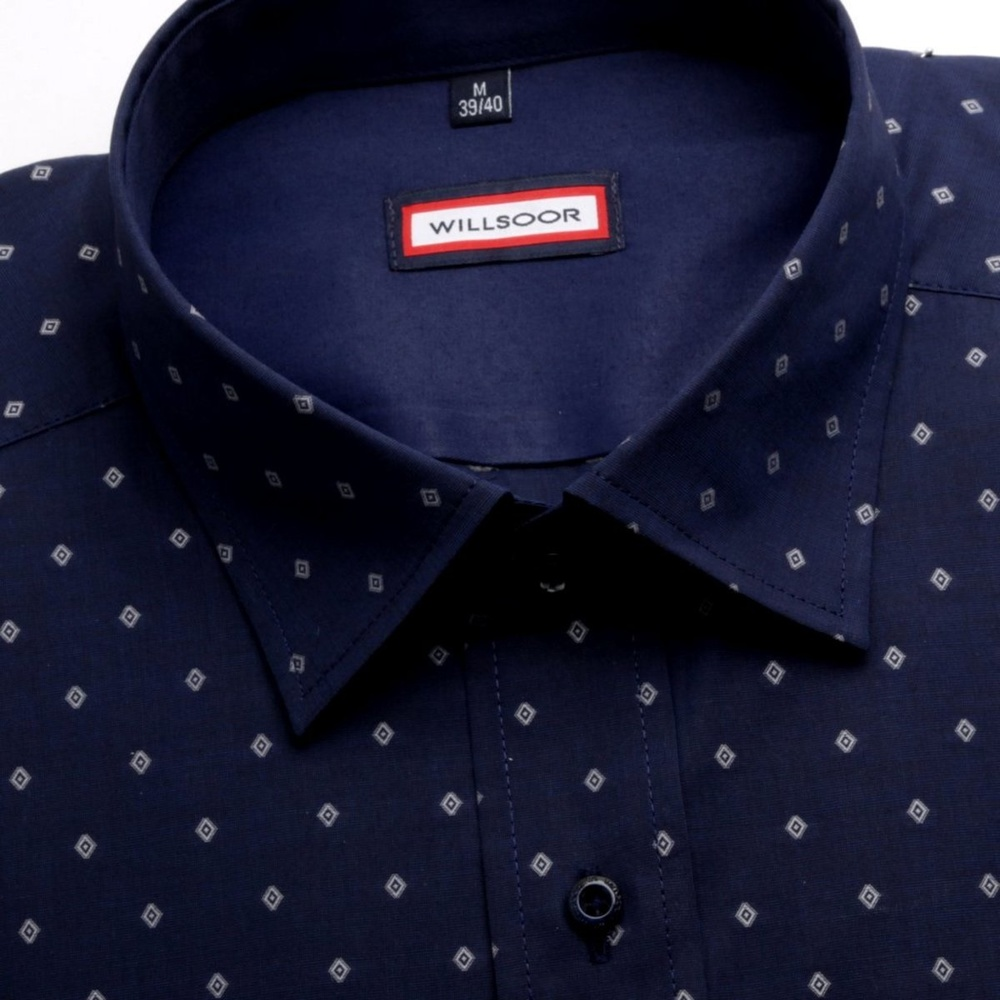 Men shirt WR London slim fit in dark blue color with geometric patterns (height 176-182) 4852