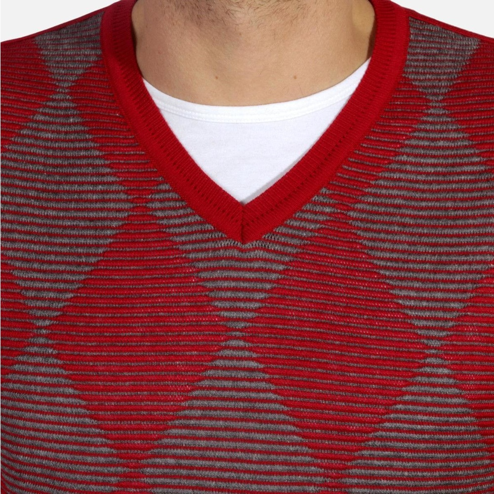 Men pullover Willsoor 4874 in red color with rhombus pattern