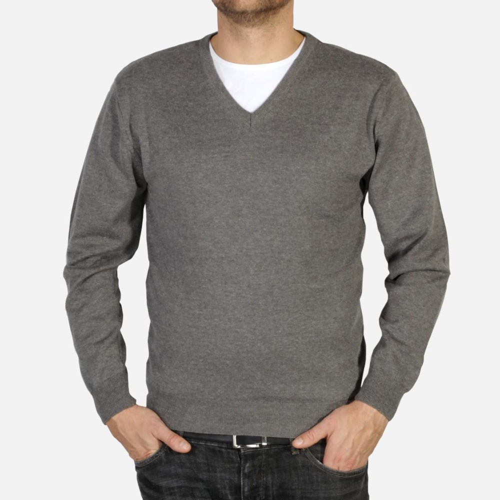 Men pullover Willsoor 4882 in gray color with neck to
