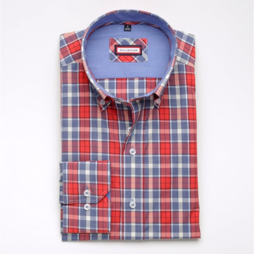 Men shirt WR London with blue-red checked (height 176-182) 5013