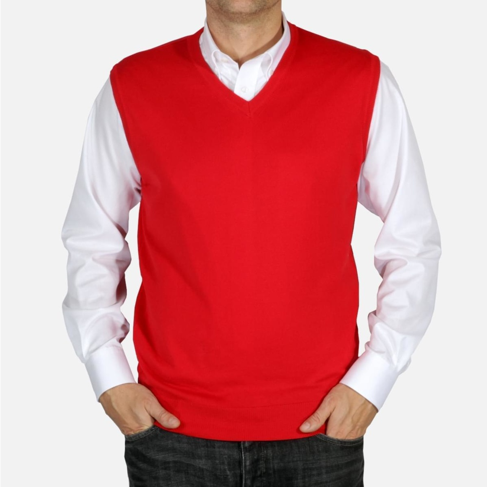 Men knitted vest Willsoor 5027 in red color