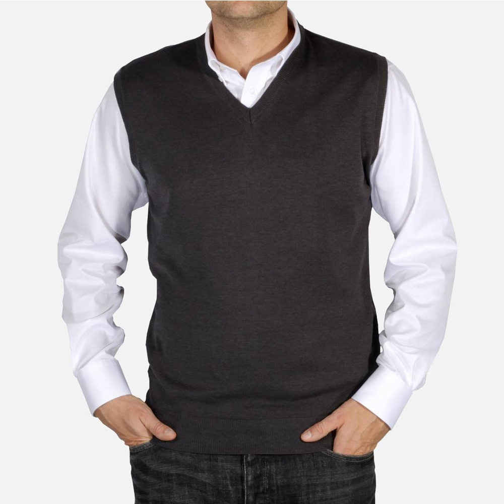 Men knitted vest Willsoor 5028 in gray color