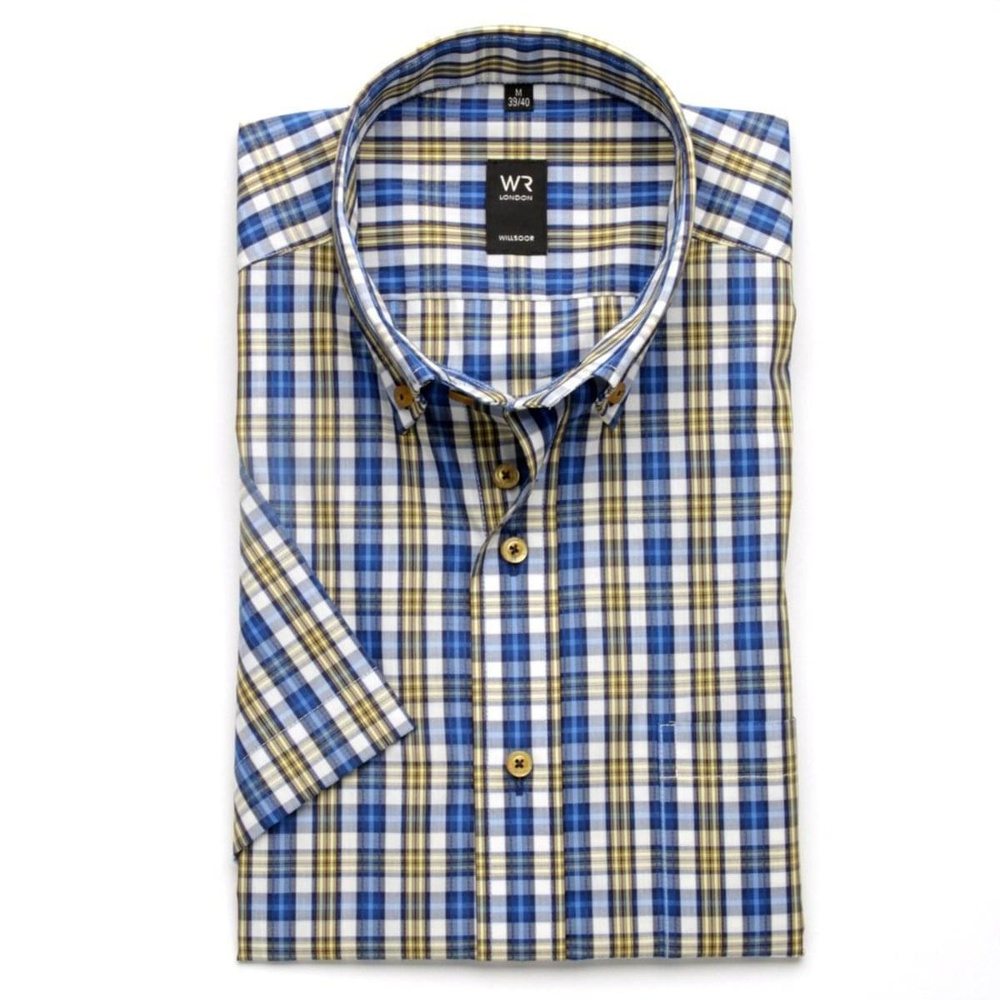 Men shirt with short sleeve in white coloured with coloured checked WR London (height 176-182) 5118