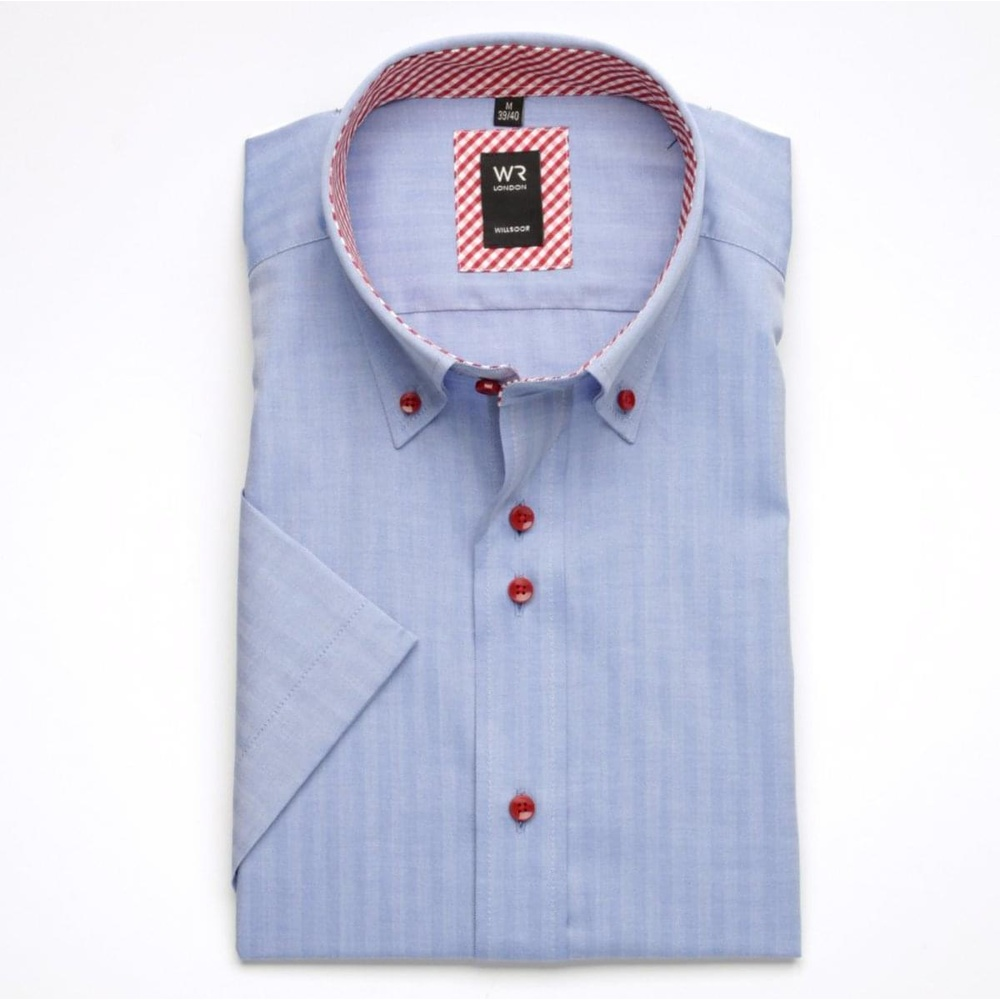 Men shirt WR Slim Fit with short sleeve in blue color with pattern