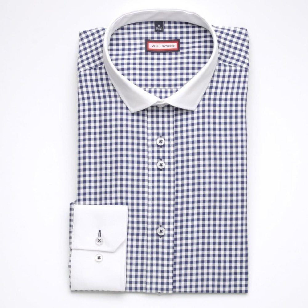 Men shirt WR Slim Fit in white color with checked (height 176-182) 5355