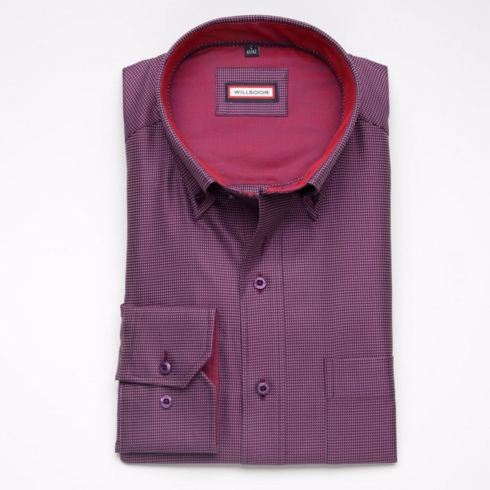 Men shirt Classic in purple color with micro pattern (height 176-182) 5441