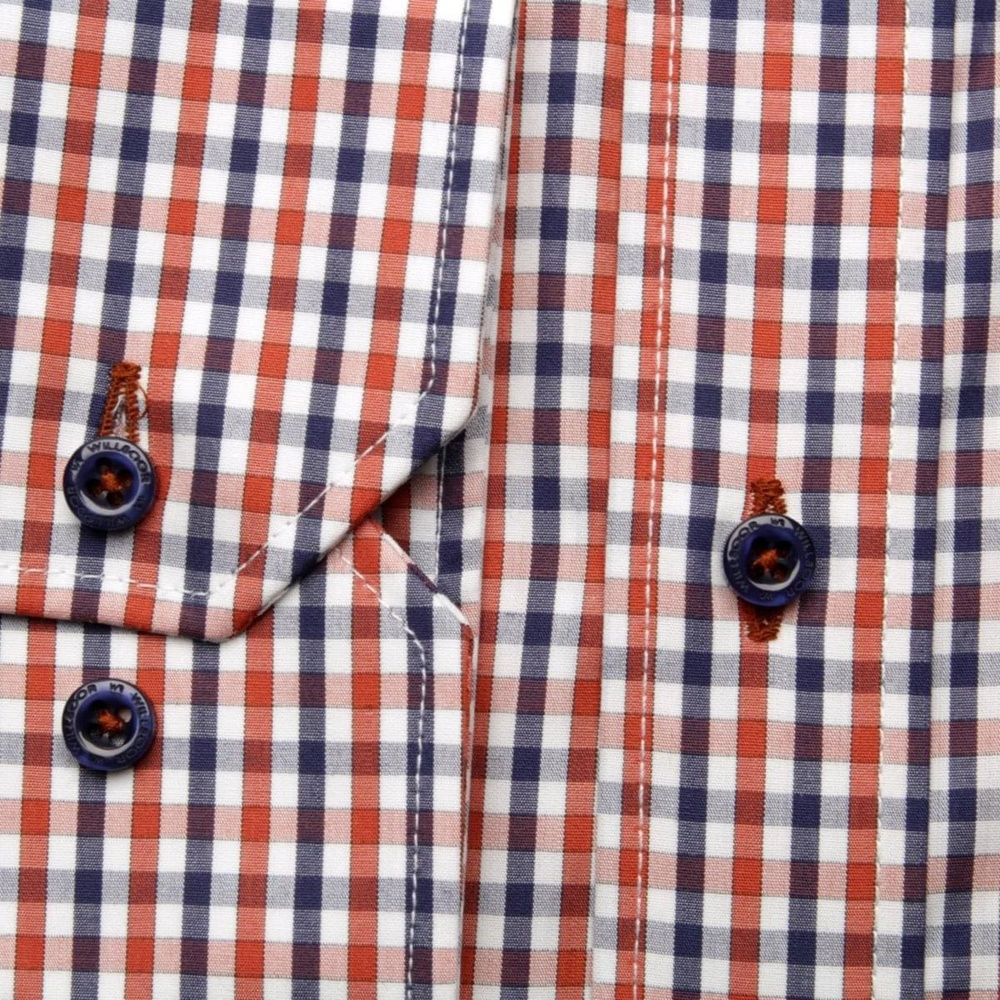 Men shirt Slim Fit in orange color with checked (height 176-182) 5489
